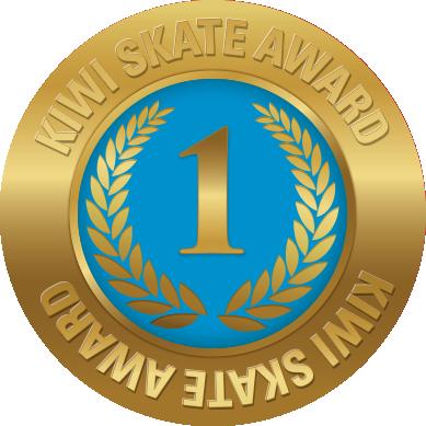 Kiwi Skate Level 1 award sticker in gold and blue