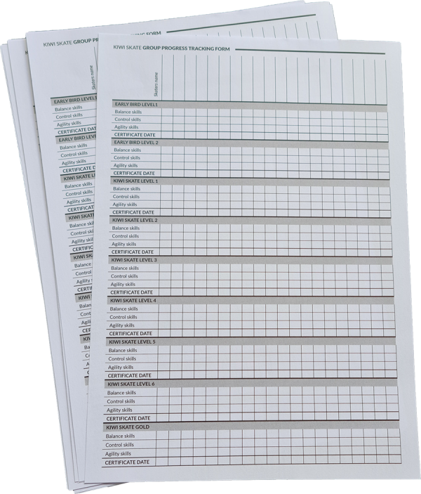 Kiwi Skate Group Tracking sheets